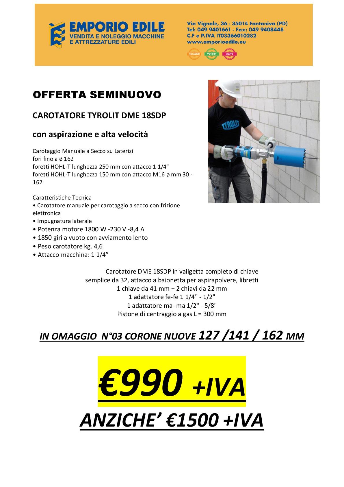 Offerta Carotatrice Tyrolit DME18sdp